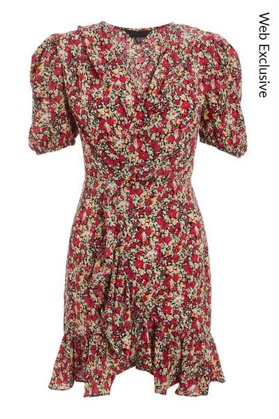 Red Floral Puff Sleeve Wrap Dress